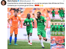 Mario Suárez, estrella en China. Twitter/MarioSuarez4