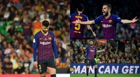 Piqué, Jordi Alba y Luis Suárez van pidiendo ya relevo. EFE