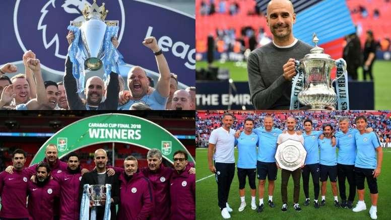 Guardiola logró lo que nadie en 148 de historia en el fútbol inglés. AFP - ManchesterCity