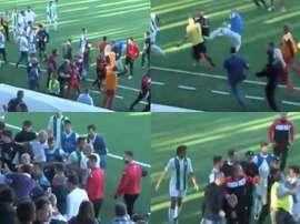 Quiles intentó agredir al árbitro. Twitter/@jpergim