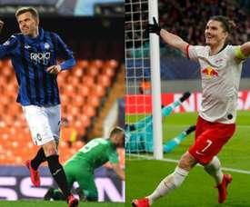 Ilicic et Sabitzer, les héros du rêve de l'Atalanta et Leipzig. AFP