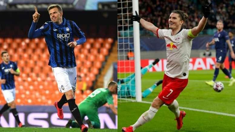 Ilicic y Sabitzer, nombres destacados de la Champions. EFE - AFP