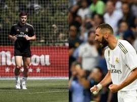 Benzema et Jovic ne comprennent pas. AFP/RealMadrid