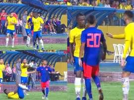 Vinicius fingió una falta en mitad del partido. Captura/SPORTV