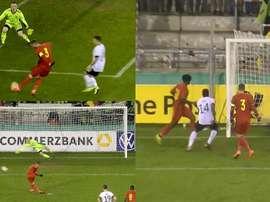 Vanheusden fue sin dudas protagonista del triunfo ante Alemania. Captura/GermanFootball