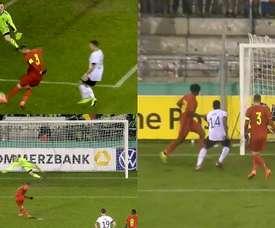 Vanheusden had an eventful game for Belgium U21. Captura/GermanFootball