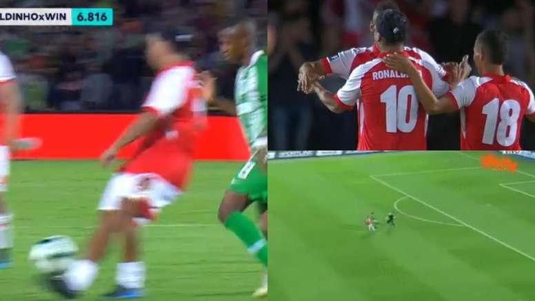 La magia de Ronaldinho y las locuras de Higuita. Capturas/WinSports