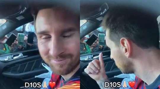 Messi sempre tem seu carro rodeado de fãs na saída do Camp Nou. TikTok/guillembarbeta02