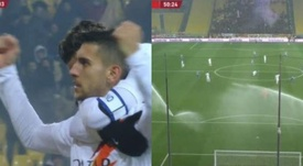 Pellegrini scored to put Roma ahead and then the sprinklers came on. Capturas/RAI