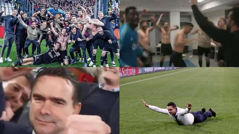 La locura del Ajax: de los gritos del vestuario al piscinazo de Overmars. Twitter/AFCajax