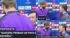 Llorente was interviewed by a Chinese journalist in Spanish. Captura/Jugones