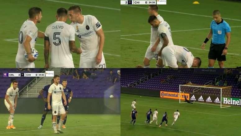 Medrán missed a penalty. Screenshot