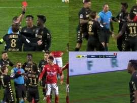 Folie aux Costières : Monaco réduit à 9 sur une même action. Capture/ElevenSports