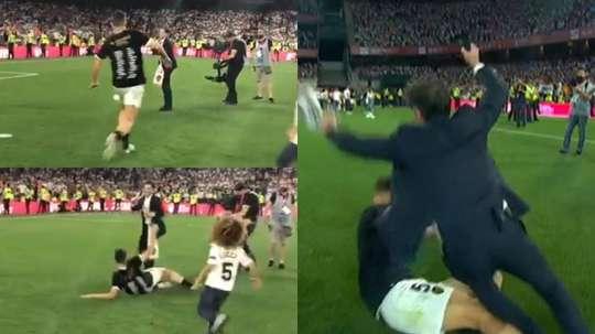 Gabriel Paulista dá carrinho em treinador para comemorar. Capturas/Valencia