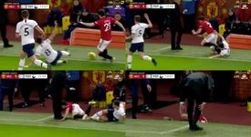 Winks quase lesiona James, que quase lesiona Mourinho. Capturas/NBCSports