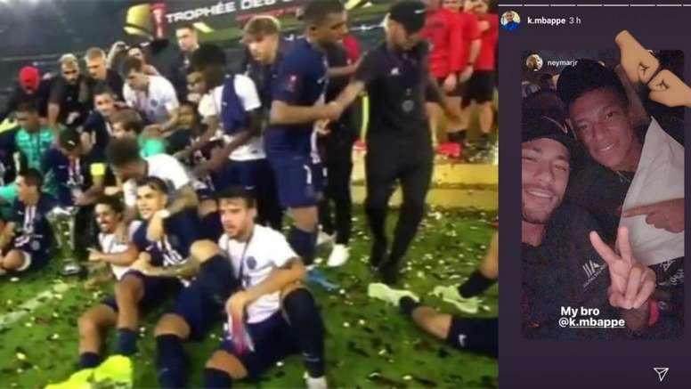 Mbappé y Neymar, tan amigos tras la Supercopa. Capturas/beINSports/Instagram/k.mbappe
