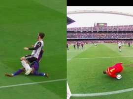 Parejo kept his cool to slide the ball underneath Ter Stegen after Dembele's foul. Screenshot