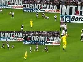 A jogada mais estranha no Corinthians-São Paulo deste fim de semana. Capturas/FoxSports