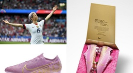 Nike homenageia Rapinoe com chuteiras exclusivas. Montagem/AFP/Twitter/HeidiBurgett