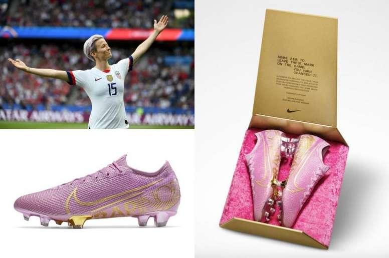 Nike rend hommage à Rapinoe avec des chaussures uniques. Montaje/AFP/Twitter/HeidiBurgett
