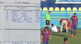 Dinamo de Bucarest solo pudo jugar con siete jugadores. Capturas/SteauaTV