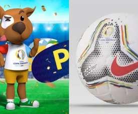La Copa América a son ballon et sa mascotte. Montaje/Twitter/CopaAmérica