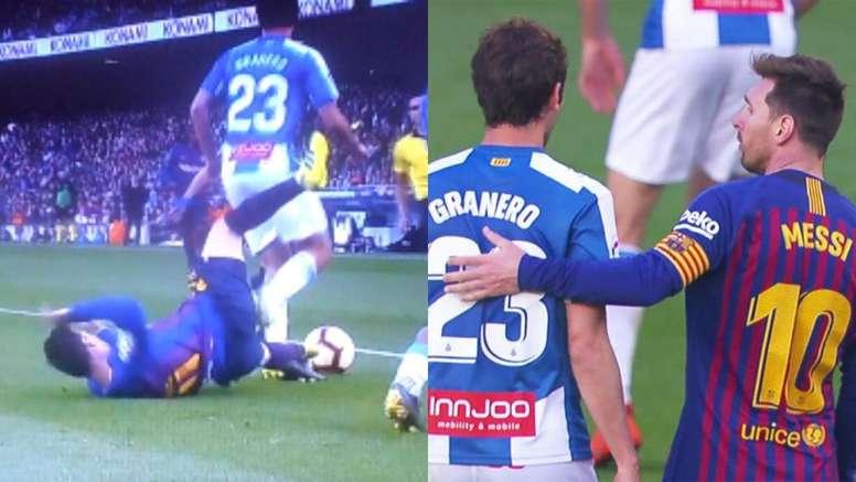 Messi y Granero tuvieron un rifirrafe. Capturas/LaLiga