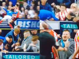 A Portsmouth fan kicked a Sunderland player at Fratton Park. Capturas/SkySports