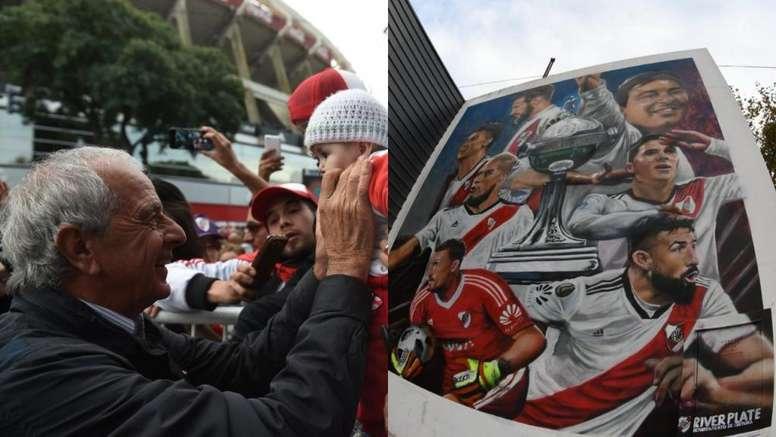 La fiesta de D'Onofrio en la presentación del Mural de la Libertadores. CARPoficial