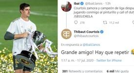 Courtois, campeão mesmo jogando COD de madrugada. Twitter/ThibautCourtois/EFE