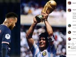 Maradona falleció con solo 60 años. AFP/Instagram/neymarjr