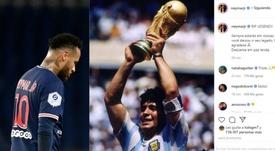 Neymar wrote a message about Diego Maradona on his Instagram account. AFP/Instagram/neymarjr