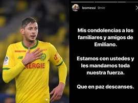 Messi enviou uma mensagem à família de Sala. Instagram/AFP