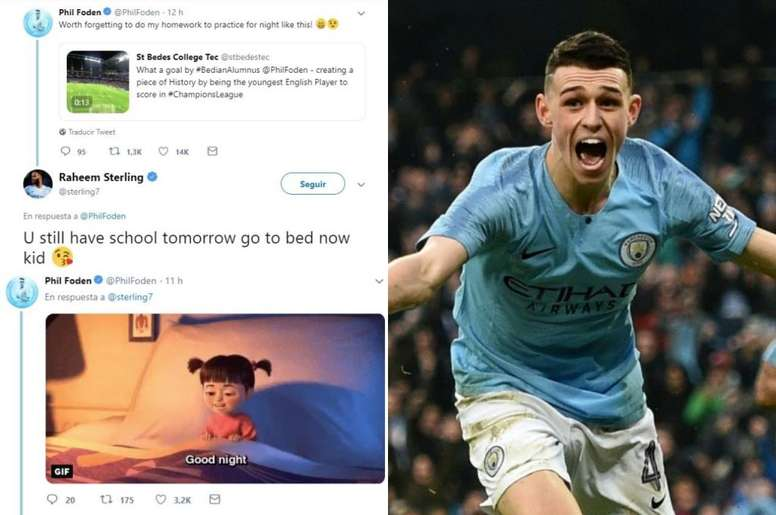 Folen converteu-se no jogador inglês mais jovem a marcar na Champions. Twitter/PhilFoden