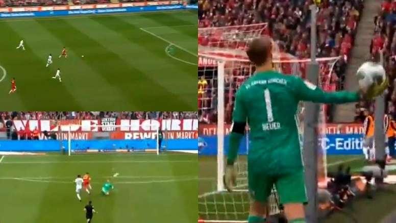 Neuer recuperó una distancia tremenda para despejar el peligro. Captura/Movistar
