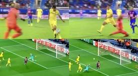 Gerard Moreno imite Messi face à Almunia pour devenir Pichichi. Capture/Movistar+