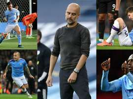 Guardiola has spent 474.7 million euros on defenders for Man City. AFP