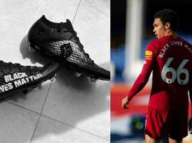 A Charity auction to be held for Alexander-Arnold's 'Black Lives Matter' boots. Twitter/TAA