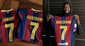 Kevin Durant announced that Antoine Griezmann will wear the '7' shirt. Captura/FCBarcelona_es