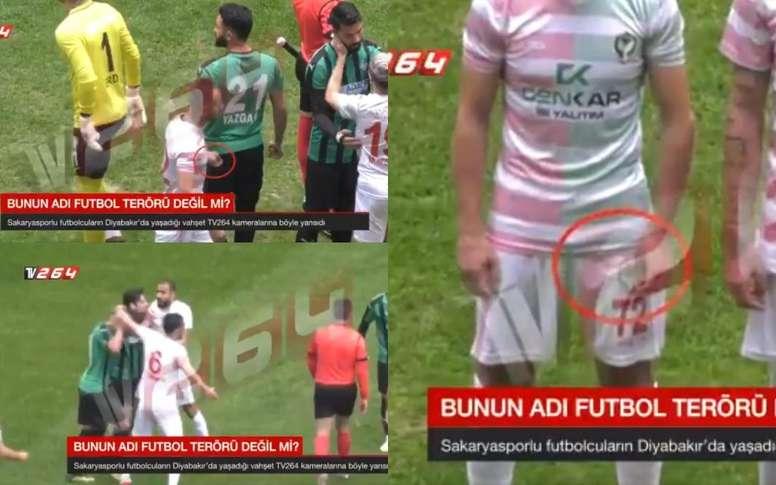 Çalar jugó con una cuchilla y agredió a sus rivales. Captura/TV264