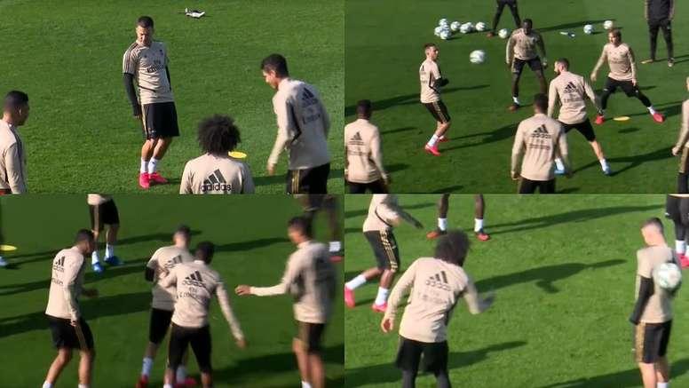 Le taureau sans fin d'Eden Hazard qui lui a valu les moqueries de ses coéquipiers. Captures/ASTV