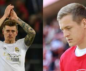 Felix Kroos (R) is younger than his brother Toni (L). Montaje/UnionBerlin/AFP