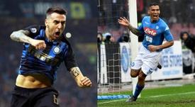 A troca entre Inter e Napoli. Montagem/EFE/AFP