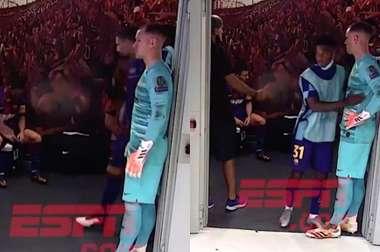 El argentino prácticamente no articuló palabra antes de volver al campo. Captura/ESPN