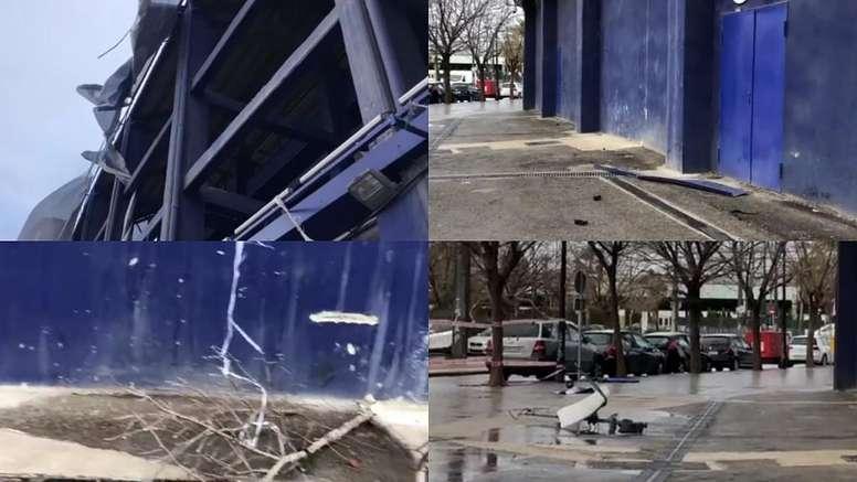 El temporal castigó al estadio del Levante. Captura/ASTV