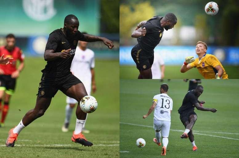 Images de Lukaku durant son premier match. Inter