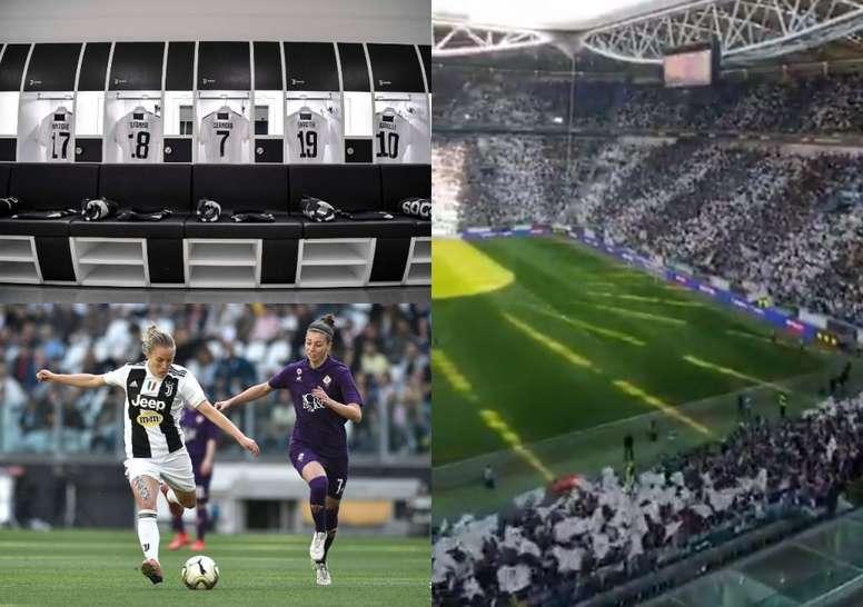Ambientazo en el Allianz Stadium en el histórico Juve-Fiore. Twitter/JuventusFCWomen