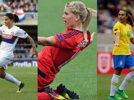 Hegerberg, Marozsán et Vieira sont les trois finalistes. AFP
