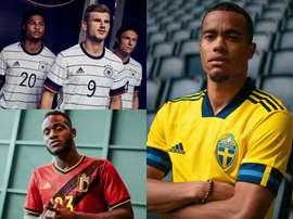 Les nouveaux maillots dévoilés de l'Allemagne, de la Belgique, de l'Angleterre. AdidasFootball