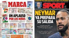 Les Unes des journaux sportifs en Espagne du 05 avril 2020. Marca/Sport